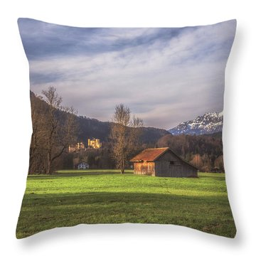 Fussen Mountain Scene Throw Pillow