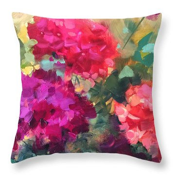 Future Bloomers Geraniums Throw Pillow by Nancy Medina