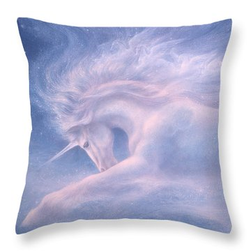 Future Dreaming Unicorn Throw Pillow by Jack Shalatain