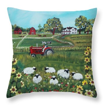 Throw Pillow featuring the painting Future Farmer by Virginia Coyle