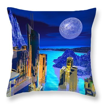 Futuristic City Throw Pillow