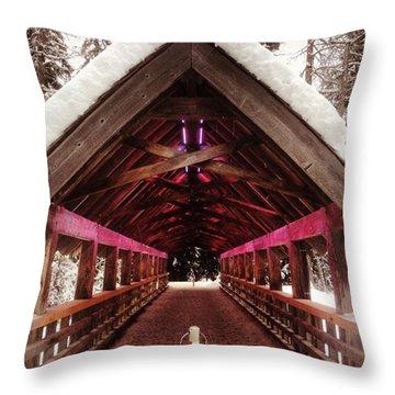 Futuristic Wooden Bridge In The Woods Throw Pillow
