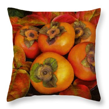 Fuyu Persimmons Throw Pillow