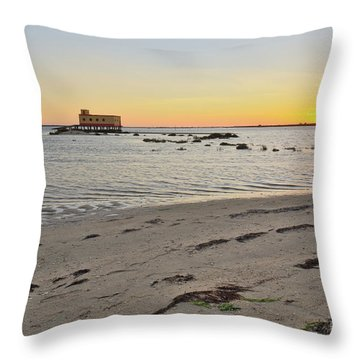 Fuzeta Beach Sunset Scenery And Landmark. Portugal Throw Pillow by Angelo DeVal