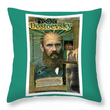 Throw Pillow featuring the mixed media Fyodor Dostoevsky by John Dyess