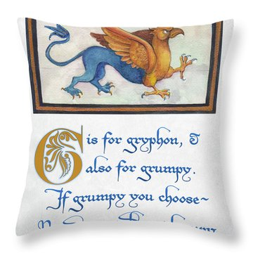 G Is For Gryphon Throw Pillow