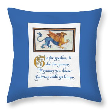 Throw Pillow featuring the digital art G Is For Gryphon by Lora Serra