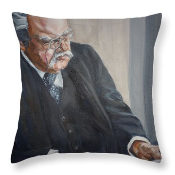 G K Chesterton Throw Pillow by Bryan Bustard