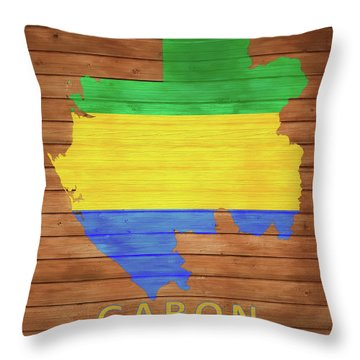 Gabon Rustic Map On Wood Throw Pillow