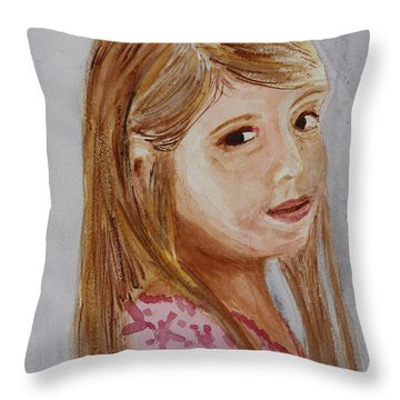 Throw Pillow featuring the painting Gabriella by Donna Walsh