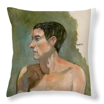 Gabrielle With Long Hair Throw Pillow by Ray Agius