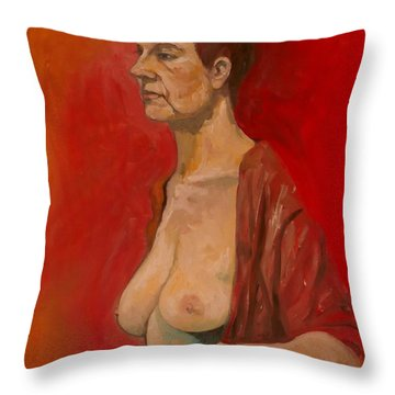 Throw Pillow featuring the painting Gabrielle Standing by Ray Agius