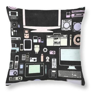 Gadgets Icon Throw Pillow