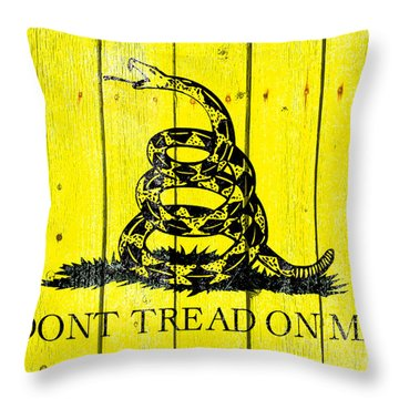 Gadsden Flag On Old Wood Planks Throw Pillow