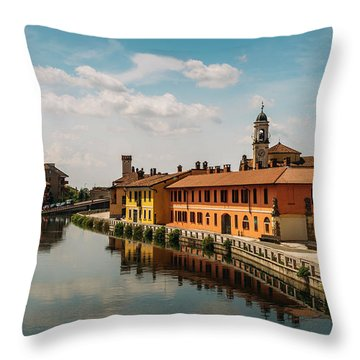 Gaggiano On The Naviglio Grande Canal, Italy Throw Pillow