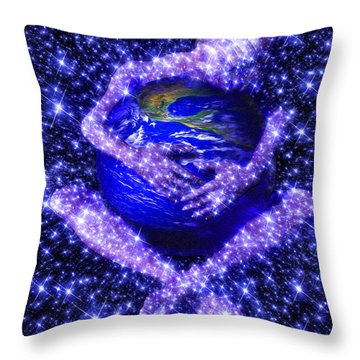 Gaia's Love Throw Pillow by Robby Donaghey