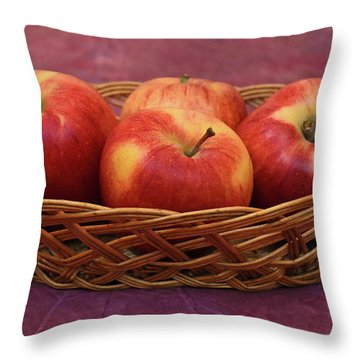 Gala Apple Basket Throw Pillow