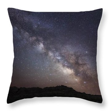 Galactic Light On Badlands National Park Throw Pillow