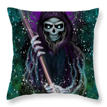 Galaxy Grim Reaper Fantasy Art Throw Pillow