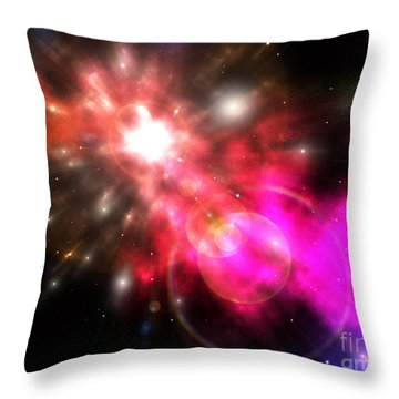Throw Pillow featuring the digital art Galaxy Of Light by Phil Perkins