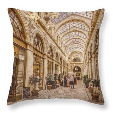 Paris, France - Galerie Vivienne Throw Pillow