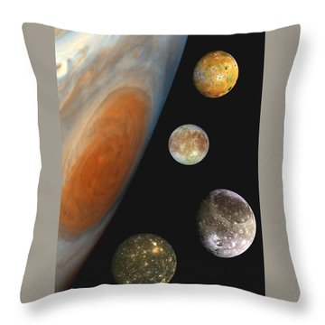 Galilean Moons Of Jupiter Throw Pillow