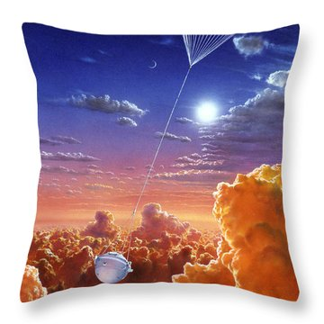 Galileo Space Probe Throw Pillow by Lionel Bret and Photo Researchers