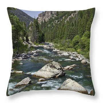 Gallatin River House Rock Throw Pillow by Mark Harrington