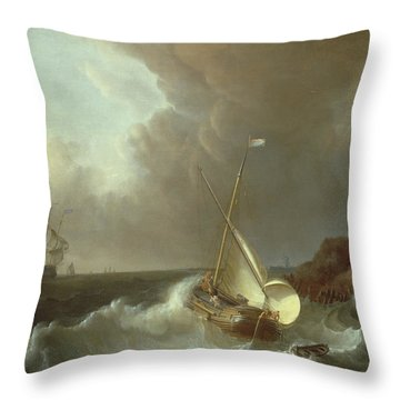 Galleon In Stormy Seas   Throw Pillow by Jan Claes Rietschoof