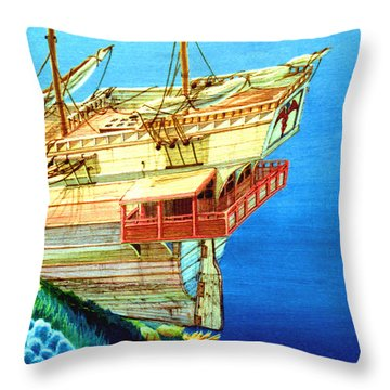 Galleon On The Reef 2 Filtered Throw Pillow