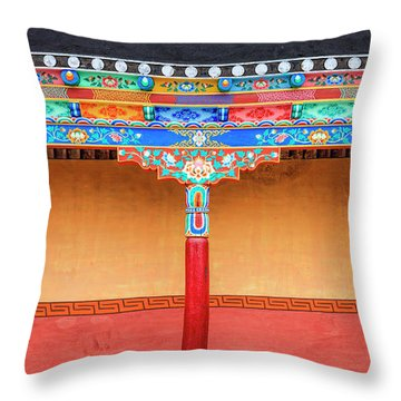 Throw Pillow featuring the photograph Gallery In A Buddhist Monastery by Alexey Stiop