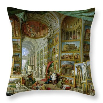 Gallery Of Views Of Ancient Rome Throw Pillow by Giovanni Paolo Pannini