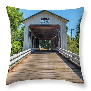 Gallon House Covered Bridge Throw Pillow