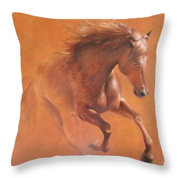 Gallop In The Desert Throw Pillow