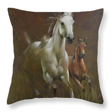 Gallop In The Eyelash Of The Morning Throw Pillow by Vali Irina Ciobanu