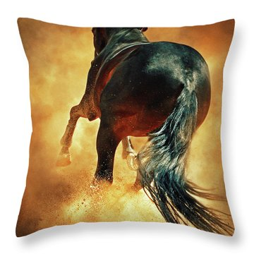 Galloping Horse In Fire Dust Throw Pillow