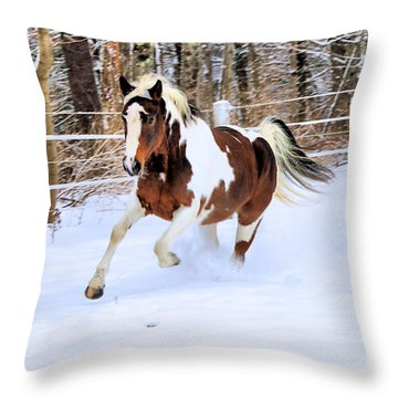 Galloping In The Snow Throw Pillow by Elizabeth Dow
