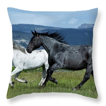 Galloping Through The Scenery Throw Pillow