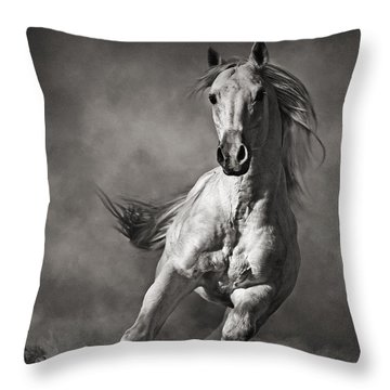 Galloping White Horse In Dust Throw Pillow