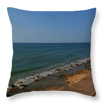 Throw Pillow featuring the photograph Galveston Beach At The Seawall by Tikvah's Hope