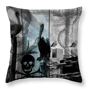 Galveston - Home To Pirates And Pelicans Throw Pillow