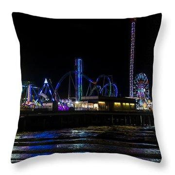 Galveston Island Historic Pleasure Pier At Night Throw Pillow