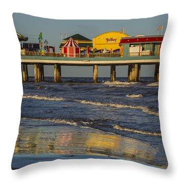 Galveston Pleasure Pier  Throw Pillow