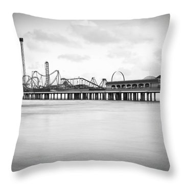Galveston Pleasure Pier Throw Pillow by Ray Devlin