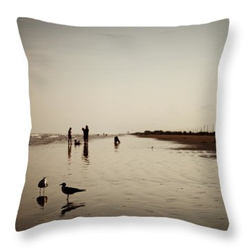 Galveston Seagulls Throw Pillow by Ray Devlin