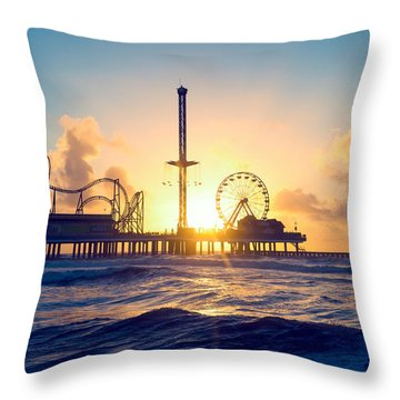 Throw Pillow featuring the photograph Galveston Sunrise Waves by Ray Devlin