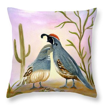 Gambel Quails Friends Forever Throw Pillow