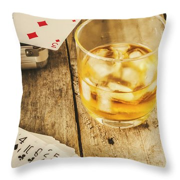 Gamblers Still Life Throw Pillow