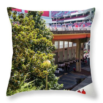 Throw Pillow featuring the photograph Game Day In Athens by Parker Cunningham