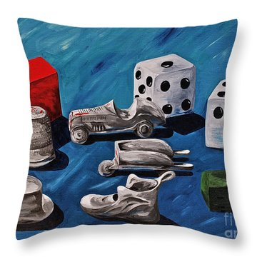 Game Pieces Throw Pillow by Herschel Fall